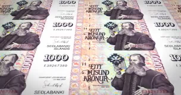 Bankovky jeden tisíc korun nebo korun Islandu válcování, peníze v hotovosti