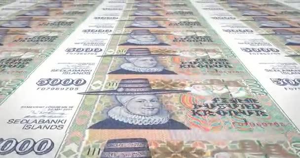 Bankovky pět tisíc korun nebo korun Islandu válcování, peníze v hotovosti