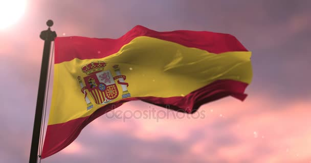 Spanyol zászló integet lassú szél a naplemente, hurok
