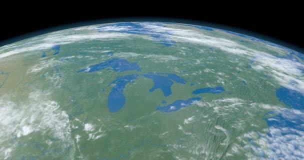 Velká jezera, v Americe kontinent, planetě Zemi, letecký pohled z vesmíru
