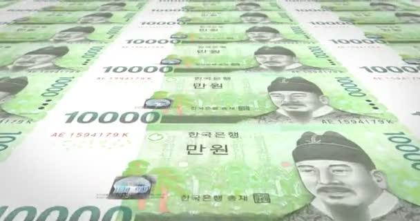 Banknoten der zehntausend Wons von Südkorea Rollen, Bargeld, Schleife