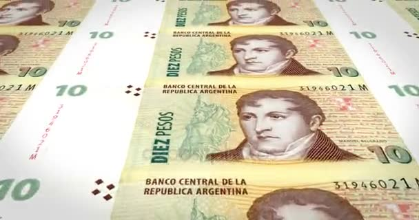 Banknoten von zehn Argentinische Pesos der Argentinischen Republik, Bargeld, Schleife
