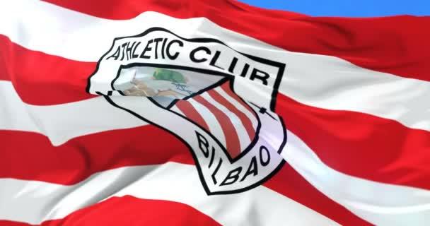 5600abed623c6 Bandiera Dell Athletic Club Bilbao Squadra Calcio Spagnola Ondeggiante  Vento — Video Stock