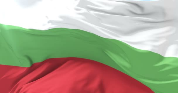 Bulgarian flag waving at wind in slow with blue sky, loop