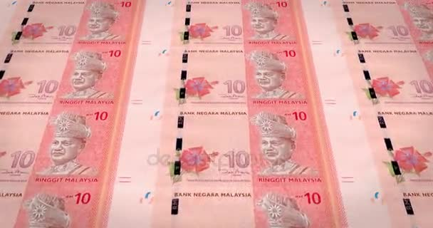 Banknotes of ten malaysian ringgit of Malaysia, cash money, loop