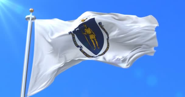 Flag of american state of Massachusetts, region of the United States, waving at wind - loop