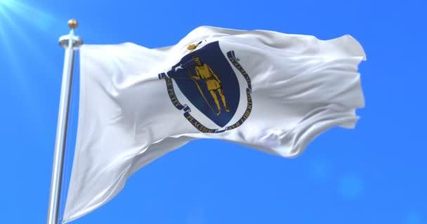 Az amerikai Massachusetts állam, régió, az Egyesült Államok, integetett a szél zászló - loop