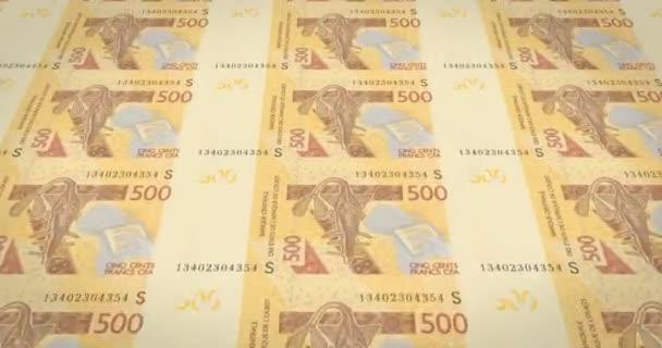 Banknotes of five hundred West African CFA francs of Africa, cash money, loop