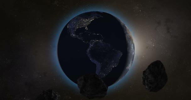 Asteroidy nebo meteorit míří k planetě Zemi