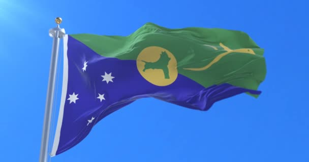 Christmas Island Flag.Christmas Island Flag Waving At Wind In Slow With Blue Sky Loop