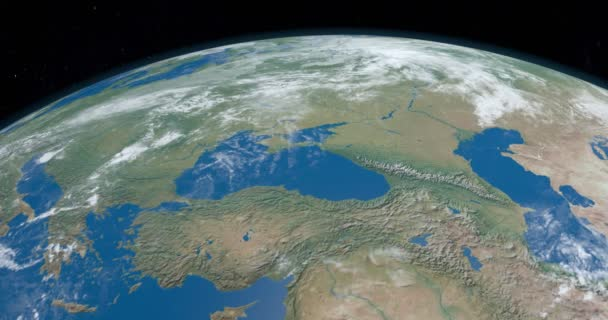Black Sea in planet Earth, aerial view from outer space