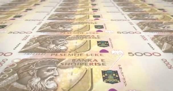 Banknoten der fünftausend albanischer Lek von Albany Rollen, Bargeld, Schleife