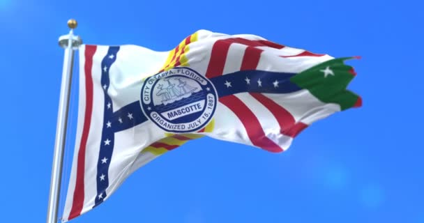 Tampa městská vlajka, město Usa nebo Spojené státy americké, mával na vítr v modré obloze, pomalu - smyčka