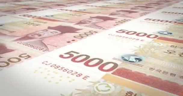 Banknoten der fünftausend Wons von Südkorea Rollen, Bargeld, Schleife