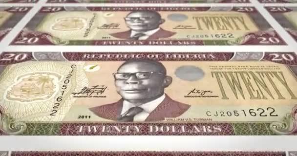 Banknoten der zwanzig Dollar Liberianer Liberias Rollen, Bargeld, Schleife