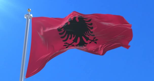 Albania flag waving at wind with blue sky, loop