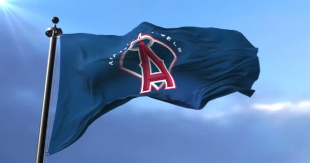 Flag of the team of the Los Angeles Angels, american professional baseball team, waving at wind - loop
