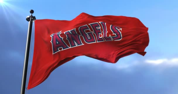 Los Angeles Angels flag, american professional baseball team, waving - loop