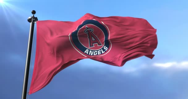 Flag of the team of Los Angeles Angels, american professional baseball - loop