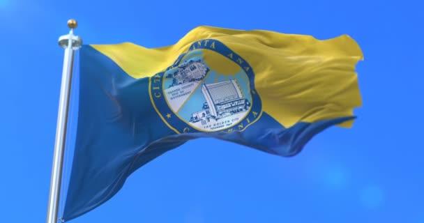 Flag of Santa Ana city, city of California in United States of America - loop