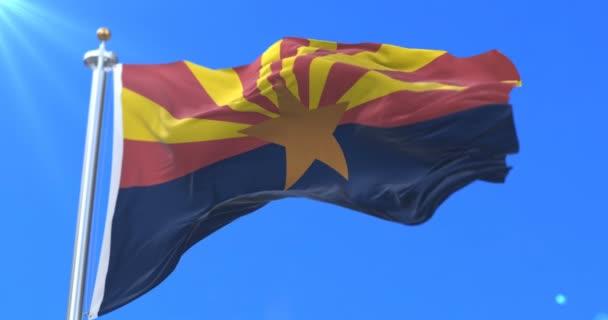Arizona állam délkeleti régiójában az Egyesült Államokban, integetett a szél zászló - loop