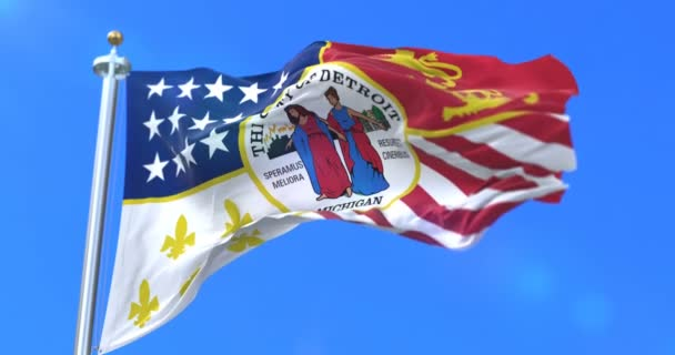 Detroit city flag, city of USA or United States of America, waving at wind in blue sky, slow - loop