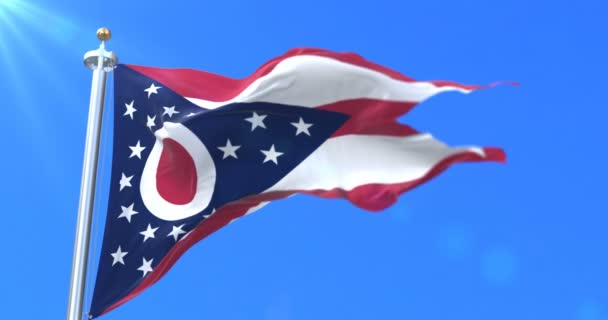 Flag of Ohio state, region of the United States of America - loop