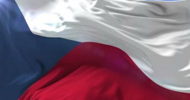 Flag of the Czech Republic waving at wind, loop