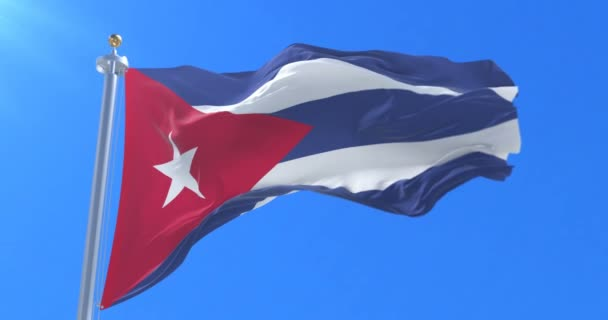 Cuba flag waving at wind in slow, loop