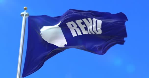 Flag of Reno city, city of Nevada in United States of America - loop