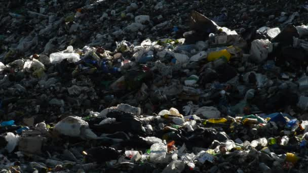Mountain of garbage and glass in a landfill controlled waste