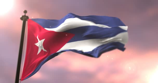Cuba flag waving at wind in slow at sunset, loop