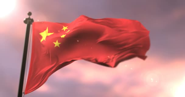 Flag of the Republic of China waving at wind at sunset, loop