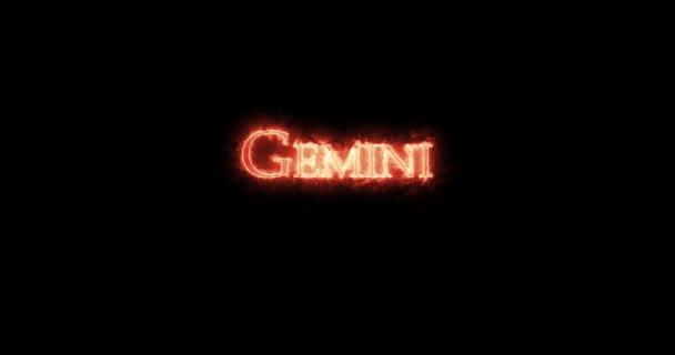 gemini astrologisches Zeichen mit Feuer geschrieben. Schleife