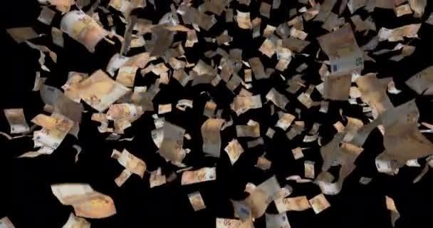 Bankovky padesáti eur padající