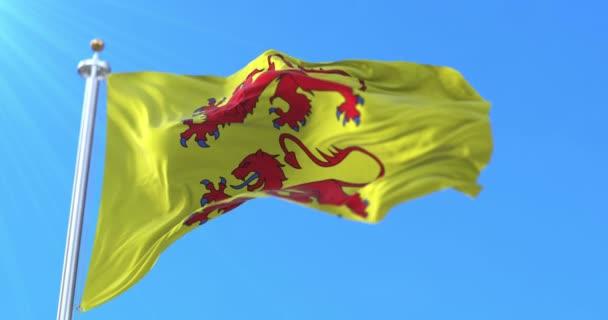 Flagge des Départements Hautes-Pyrenees in der Region Okzitanien, Frankreich. Schleife