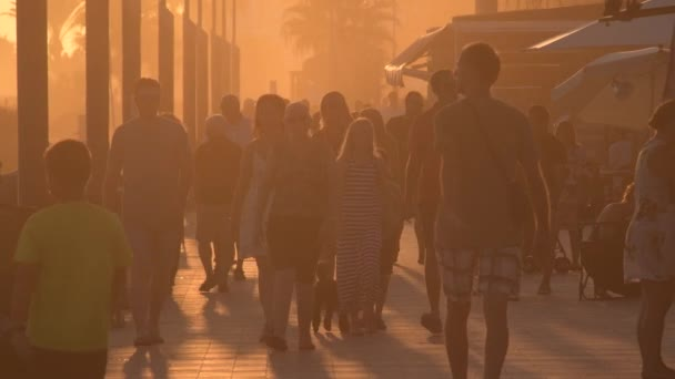 People walking in a seafront at sunset a summer evening