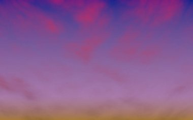 Cumulus pink clouds in the purple sky at sunset. Abstract group of clouds in the evening. 3D illustration