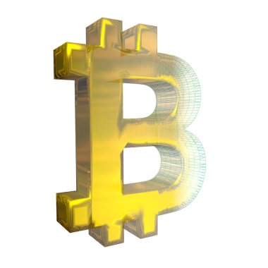 Bitcoin sign, the green grid turns into gold on white background. 3D illustration