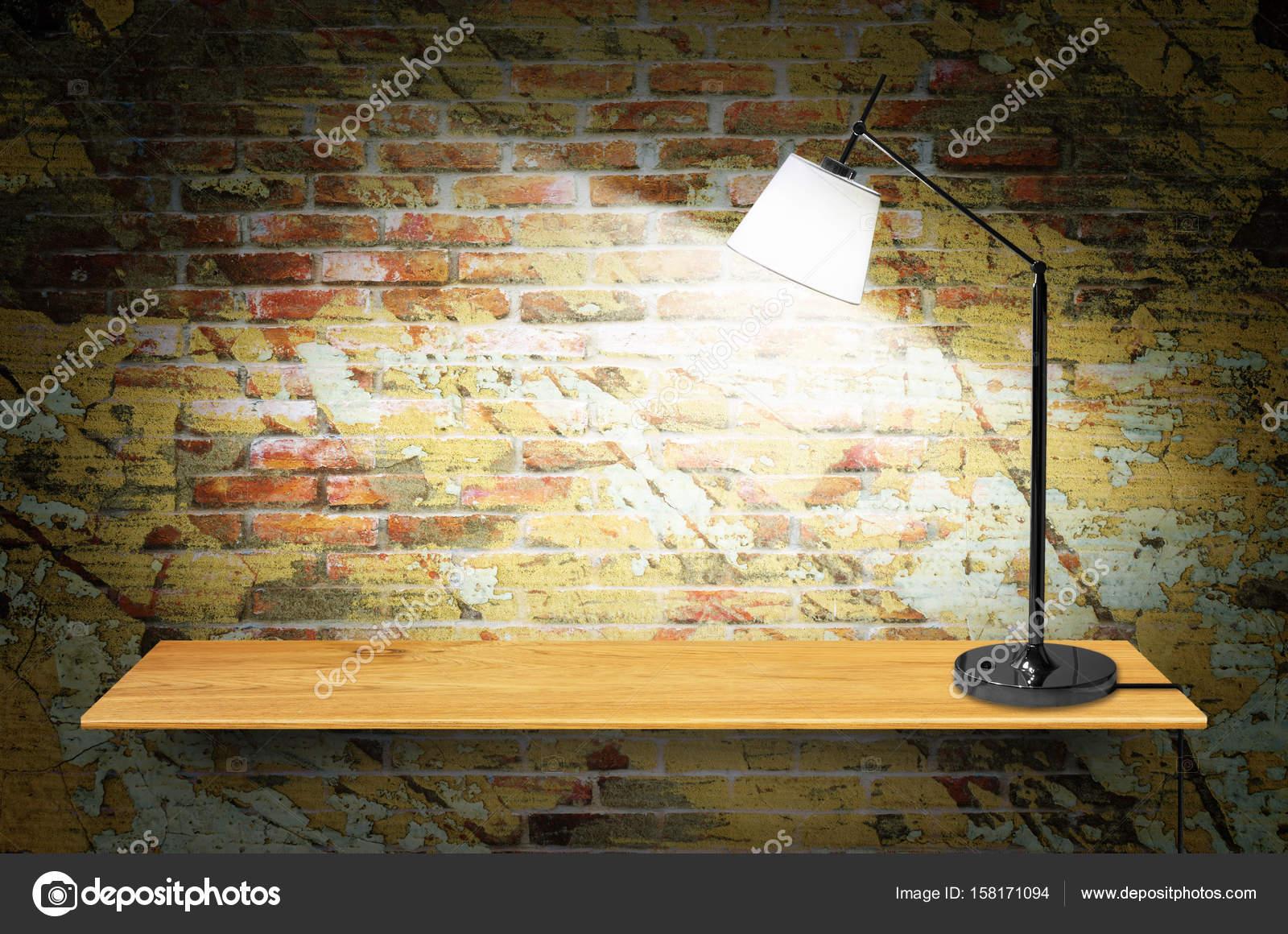 lamp op houten boekenkast — Stockfoto © nirutdps #158171094