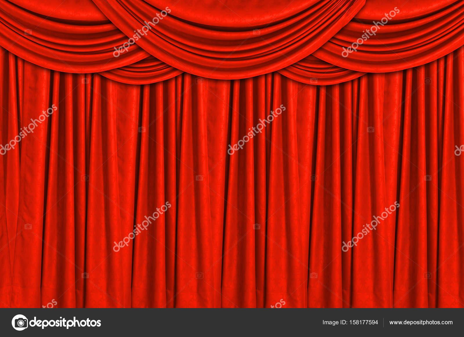 Rode gordijnen en podium vloer — Stockfoto © nirutdps #158177594