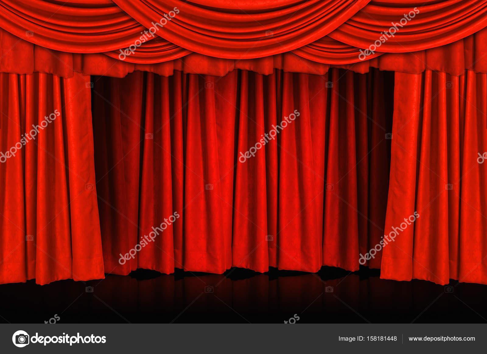 Rode gordijnen en podium vloer — Stockfoto © nirutdps #158181448