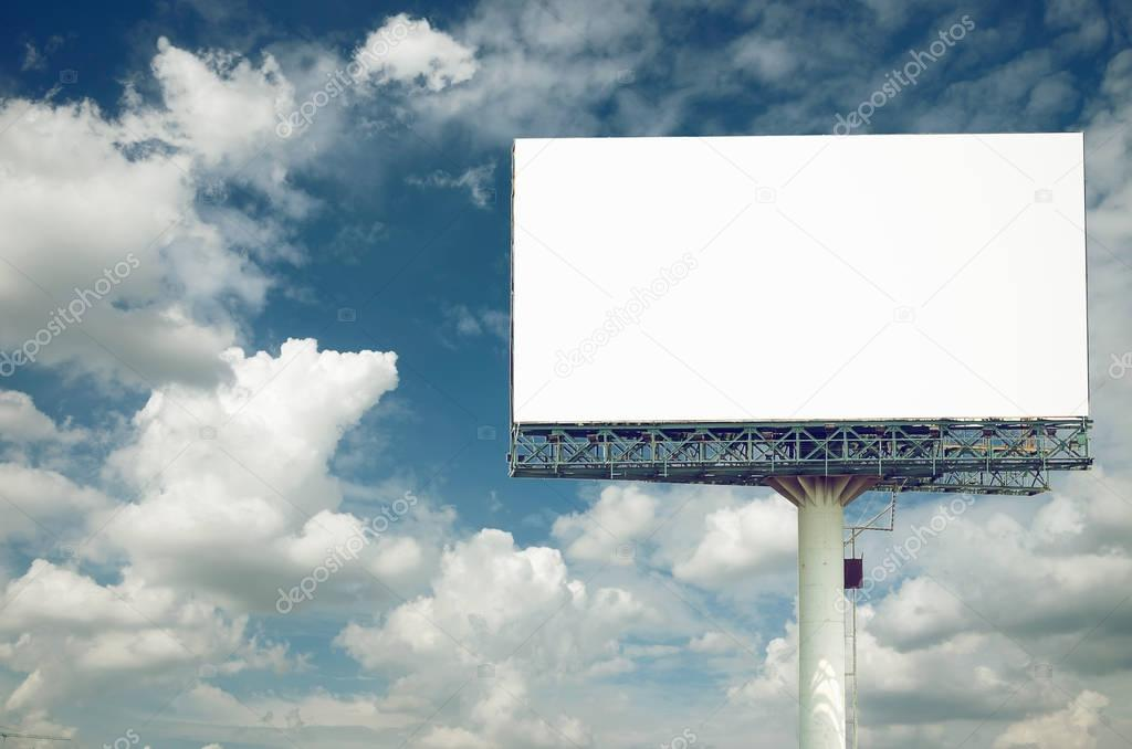 Billboards isolated on sky background