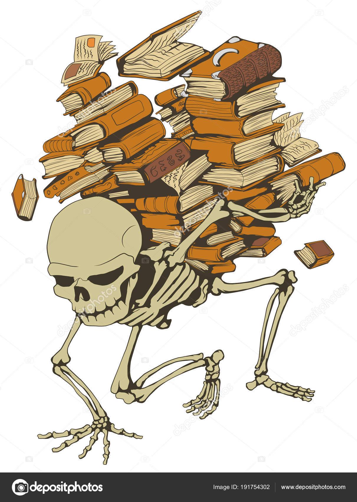Libro pila esqueleto, Color — Archivo Imágenes Vectoriales © higyou ...