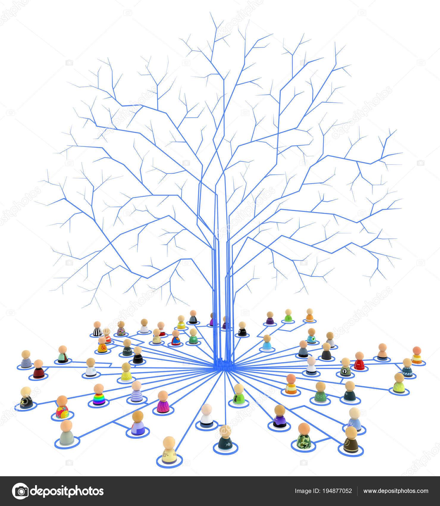 Cartoon Crowd, Link Tree Roots — Stock Photo © higyou #194877052