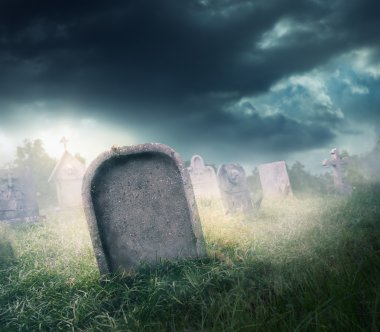 gravestone with fog and  lighting
