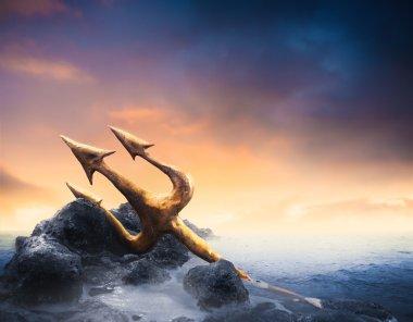 Poseidon's trident at sea