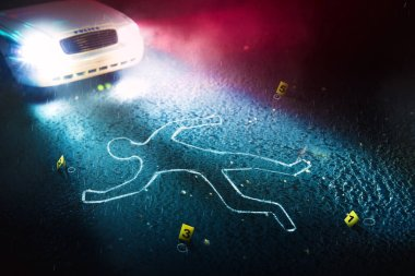 fresh crime scene with body silhouette
