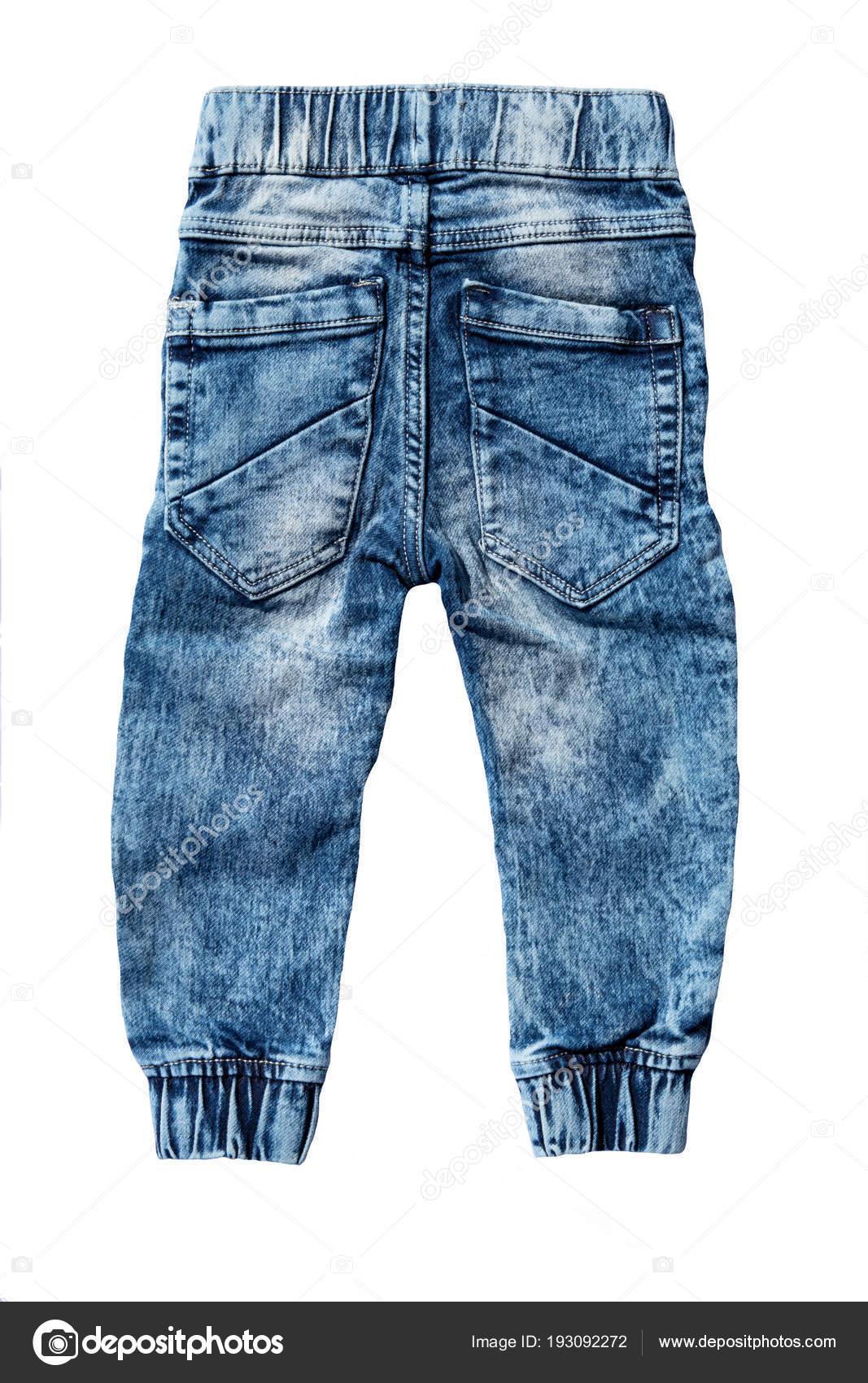 bd27a90a8 Pantalón de jeans azul aislado sobre fondo blanco. Jeans de moda para niño  niño. Sitio posterior vista superior - imágenes  un pantalon — Foto de ...