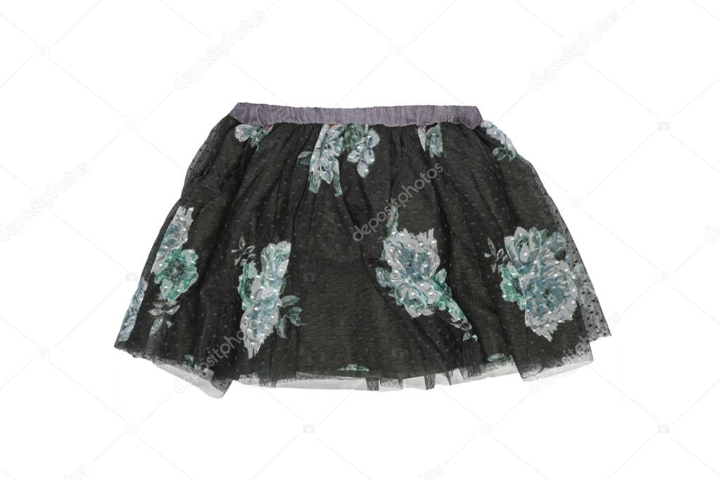 Clothes for children. Close-up of a beautiful black girl skirt w